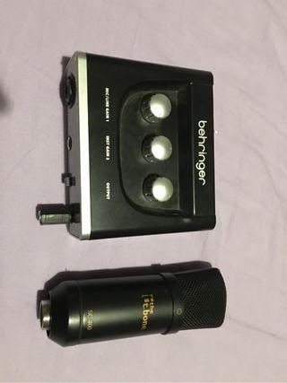 Microfono de estudio y Tarjeta de sonido
