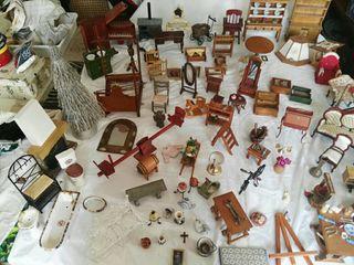 gran lote muñecas miniatura muebles sofa sillas et