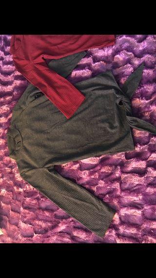 Camisetas granate y gris, talla S nuevas