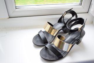 Zara sandals golden black