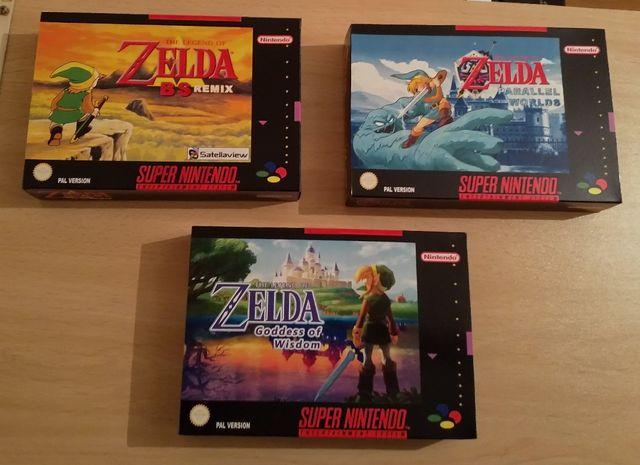 Cajas repro para cartuchos custom de Zelda SNES de segunda mano por