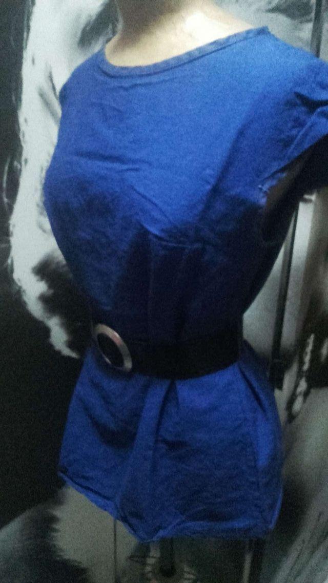 Camisa lino azul cobalto + cinturón