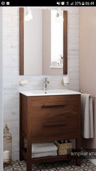 Mueble de baño + pica + espejo NOGAL