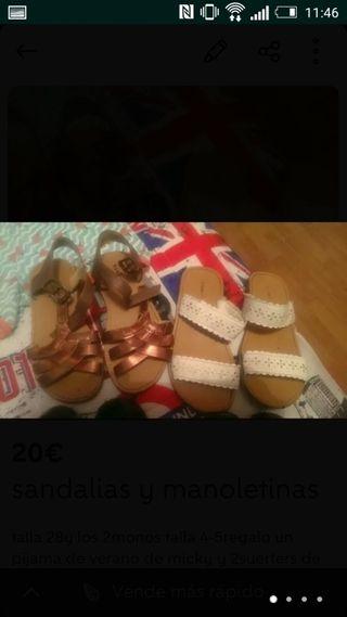 2 sandalias y 2manoletinas