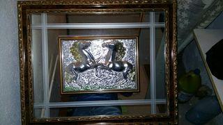 cuadro (caballos) metálico hecho a mano