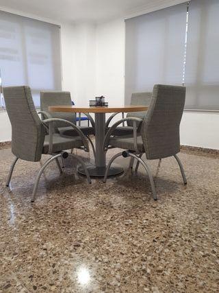 Mesa ideal reuniones 110 cm diámetro y 4 sillones