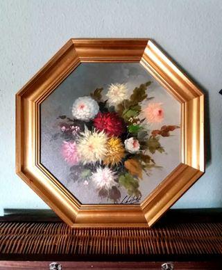 Cuadro Bodegón Floral Hexagonal 51cm Alto 2 Und