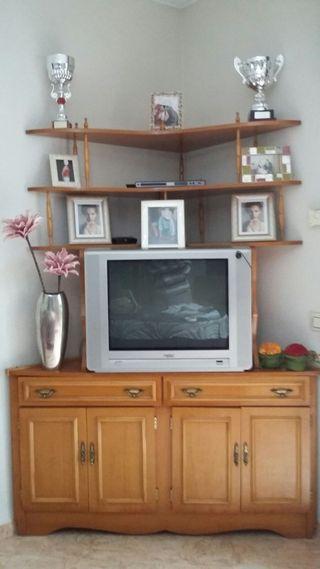 Estupendo mueble salón (para rincón)+ lámpara