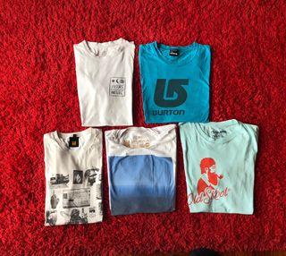 Lote x 5 Camisetas Chico - Talla L - Element - Vans - Insight - Burton - Rvca