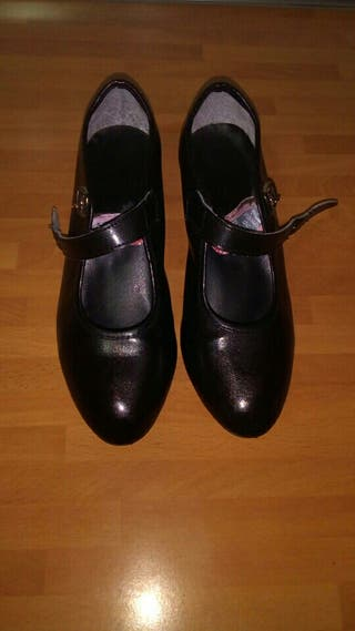 Zapatos negros de tacón de danza de niña (núm. 34)
