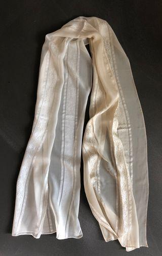 Étole soie bande satin bicolore beige 45 x178 cm