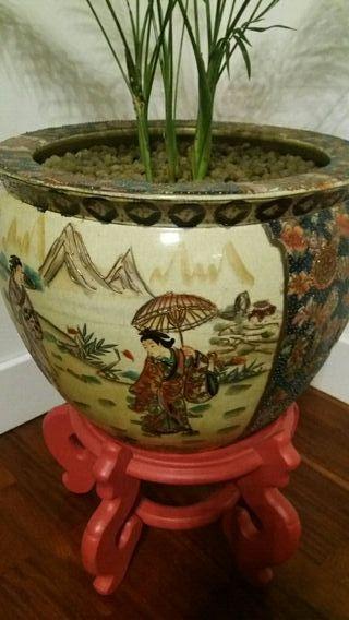 Tiesto y base cerámica china
