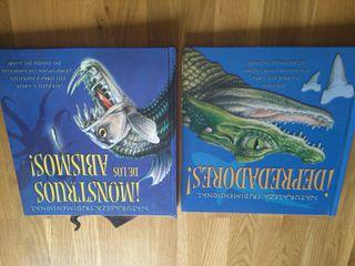 2 libros animales. reptiles.etc.