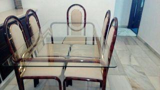 Mesa comedor, con 6 sillas de forja