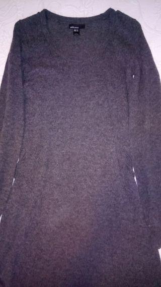 vestido gris de lana talla M de zara