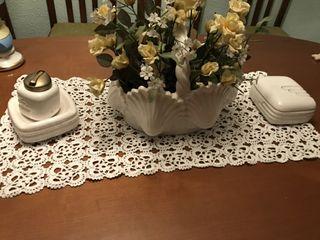 encendedor, macetero y joyero ceramica