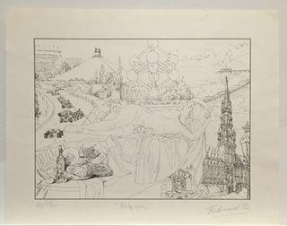 "Lithographie Ferdinand PIRE ""Bruxelles"" 88e/150"
