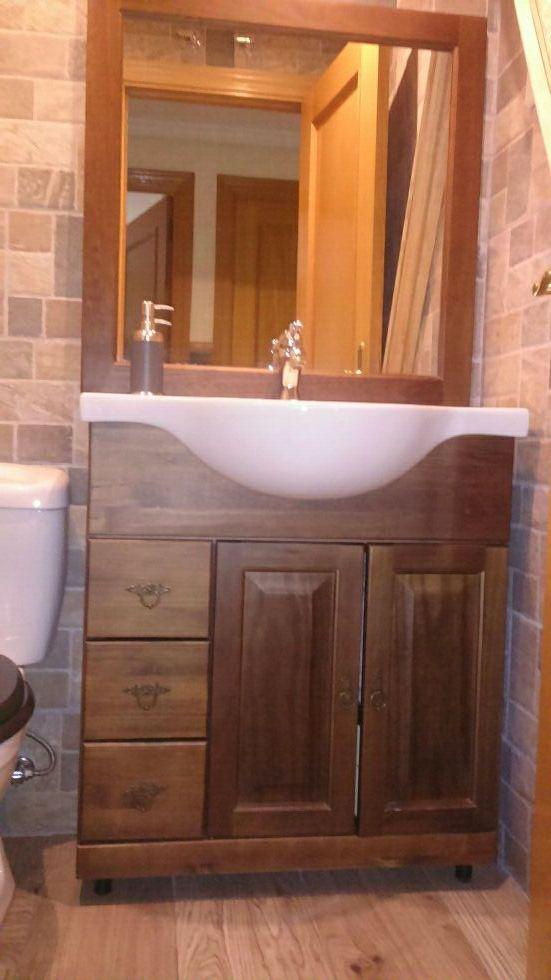 Mueble ba o espejo madera maciza 675800381 de segunda mano por 395 en madrid en wallapop - Muebles bano madera maciza ...
