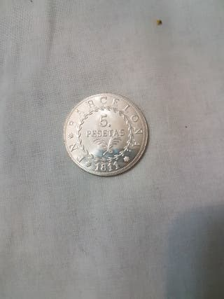Moneda barcelona de 5 pesetas antigua 1811