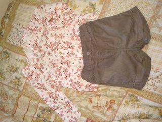 camisa y pantalón de pana corto. de 2-3 años