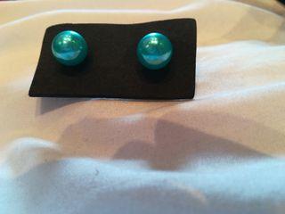 pendientes bola azul turquesa plata 5€