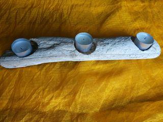 Portavelas de madera muy original hecho a mano
