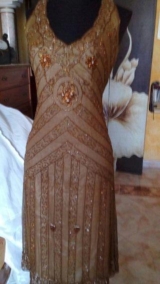 vestido de fiesta en gasa de masimo duti con pedre