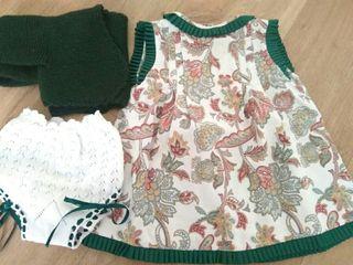 vestido talla 12 meses pique flores verdes