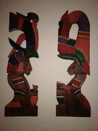 FIGURA MADERA MEJICANA HECHA A MANO. Arte azteca