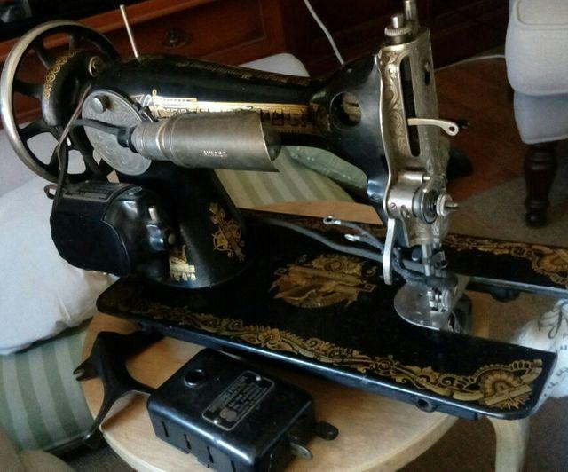 Máquina coser antigua Singer con motor de segunda mano por