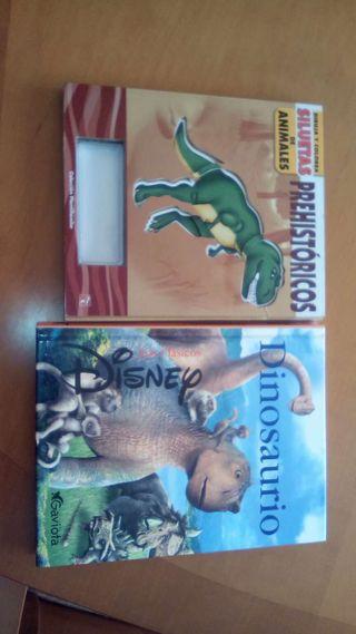 Libro dinosaurios disney y siluetas animales prehistoricos