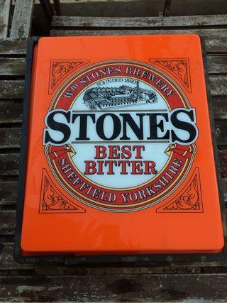 Cartel antiguo luminoso stones