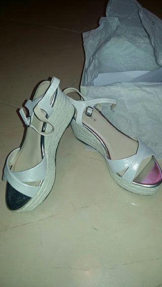zapatos sandalia cuña boda novia talla 38