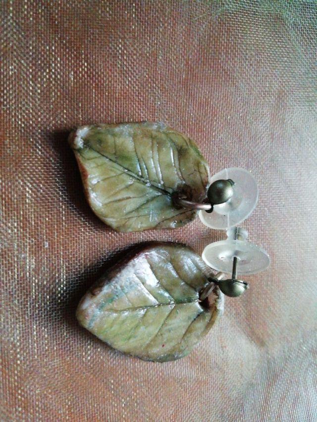 pendientes hojas de limón artesanales porcelana