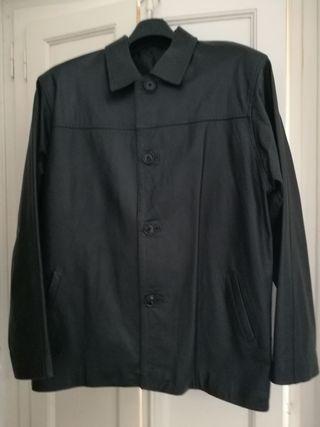 chaqueta de piel negra, hombre, talla L