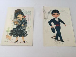 colección postales Vintage folfloricas pop años 60