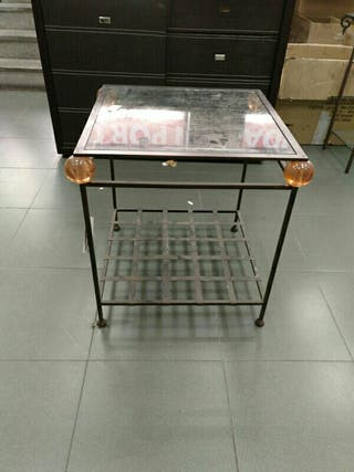 mesa de forja y cristal de 60*60