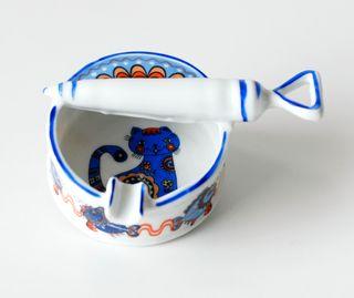 Antiguo cenicero de porcelana EME, Made in Spain