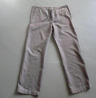 """Pantalon Taupe """"MUJI"""" coton/ramie T. 40-42"""