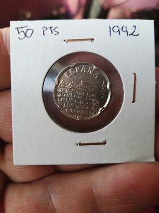 moneda 50 pesetas 1992 + regalo