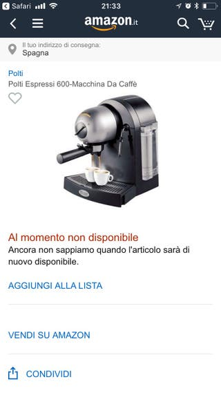 Cafetera eléctrica POLTI ESPRESSI 600