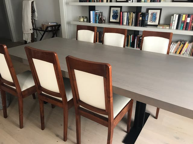 6 sillas de comedor de madera tapizadas. de segunda mano por 100 ...