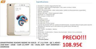 """REDMI 5A GOLD - 5""""/12.7CM 2GB RAM - 16GB"""