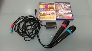 Microfonos PS2 y 2 juegos singstar