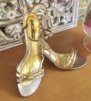 Sandalia tacón - Piel en plata & dorado