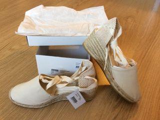 Zapatos cuña blancos 40