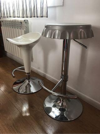 Banquetas - taburetes salon /cocina con pie cromo