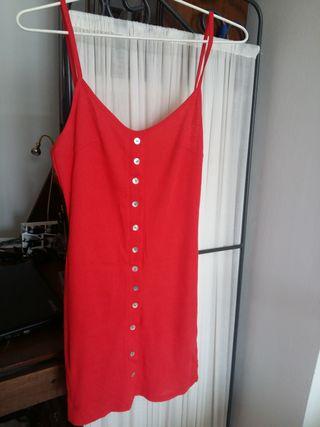 Vestido rojo canalé de tirantes talla XS