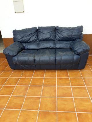 sofa azul poli piel