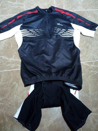 conjunto maillot culote, bicicleta btwin